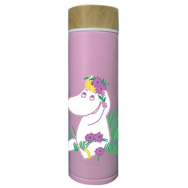 【MOOMIN】01木紋蓋保溫瓶(粉紅) - 保溫瓶(大)500ml