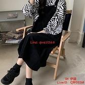 黑色背帶裙女裝春秋季連身裙兩件套法式復古長裙子【CH伊諾】