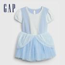 Gap嬰兒 甜美風格拼接紗裙洋裝 593670-淺藍色