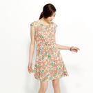 SISJEANS-粉橘兩件式花朵雪紡洋裝【1619500405】