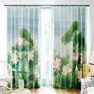 中式水墨畫書房落地窗簾遮光成品印花個性定制  JX
