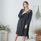 【Tiara Tiara】百貨同步 長短版拼接刷毛下擺刺繡花V領洋裝(藍/黑)