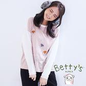 betty's貝蒂思 復古感鳥刺繡拼接上衣(粉色)