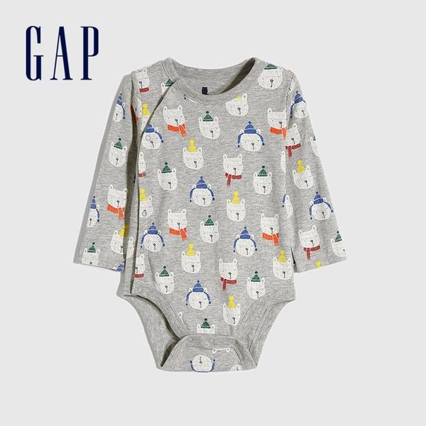 Gap嬰兒 布萊納小熊系列圓領長袖包屁衣 650318-灰色