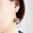 華麗貝殼紋圓形垂掛耳環 耳勾
