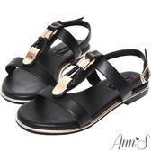 Ann'S名品時尚-編織金扣寬版平底涼鞋-黑