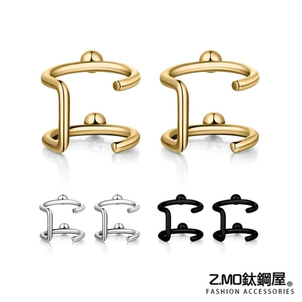 [Z-MO鈦鋼屋]魅力閃亮耳環/雙環水鑽耳環/閃耀動人/典雅設計/單個價【ECS071】