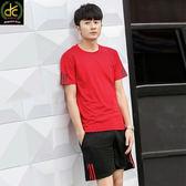 簡約運動風格時尚潮流休閒舒適圓領短袖套裝  紅 《P5137》