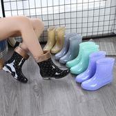 春秋雨鞋女短筒成人保暖雨靴韓版水靴夏季防水鞋女士防滑中筒膠鞋 韓慕精品