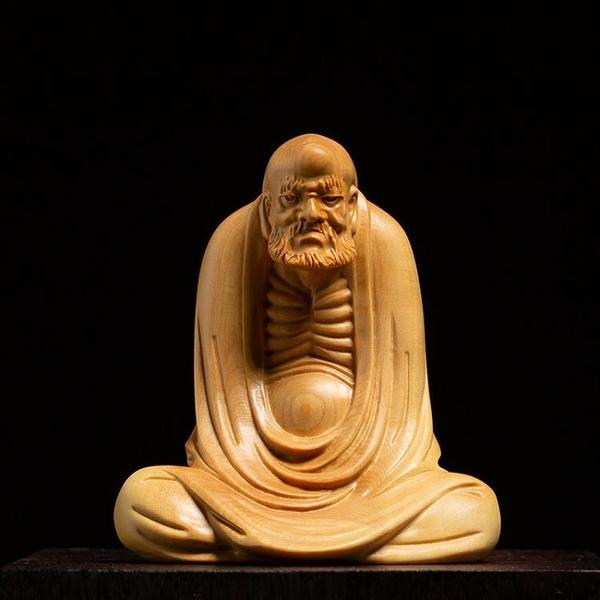 黃楊木實木玄關客廳裝飾工藝品禪意木雕佛像坐禪達摩擺件