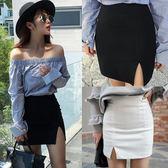 2018春季一步裙包臀裙開叉 彈力修身顯瘦短裙春夏高腰職業半身裙