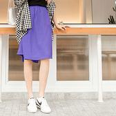 《BA4862-》涼感純色斜片剪裁設計口袋褲裙 OB嚴選