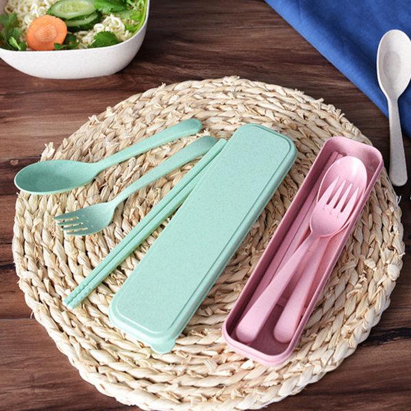韓版 旅行 野餐 餐具三件套 衛生筷 湯匙 叉子 餐具收納盒 餐具組 環保餐具