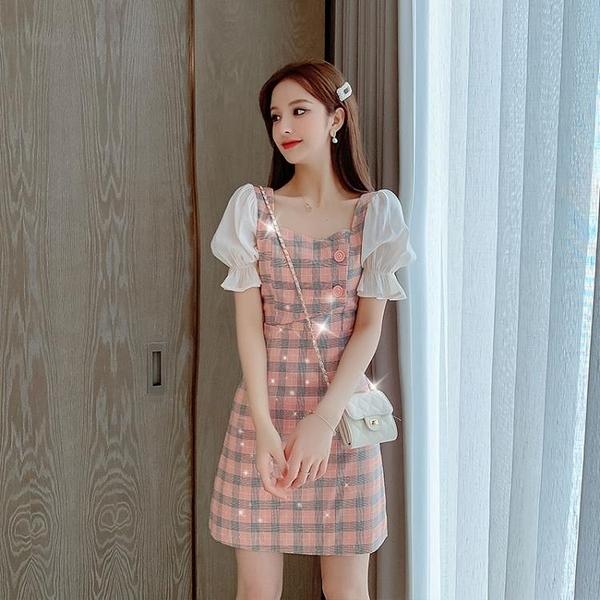 2021夏季新款法式氣質格子短袖女裙子收腰顯瘦雪紡拼接A字洋裝 korea時尚記