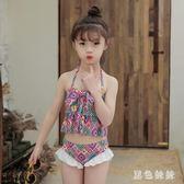 女童游泳衣可愛學生溫泉分體兒童泳衣女孩中大童泳裝 aj10862『黑色妹妹』