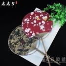 日式和風和服雙面扇子團扇日本棉布花布古風手工COS攝影團扇宮扇 小時光生活館