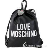 LOVE MOSCHINO 銀字附鑽心吊飾束口皮革後背包(黑色) 1830385-30