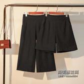 女士直筒褲休閒高腰鬆緊腰五分褲七分褲大尺碼寬鬆褲肥人女 萬聖節服飾九折