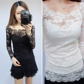蕾絲打底衫女長袖冬季新品時尚性感透明一字領露肩花朵上衣 生日禮物