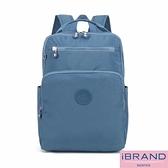 iBrand後背包 輕盈防潑水素色雙拉鍊尼龍後背包(大)-牛仔藍 MDS-8612L