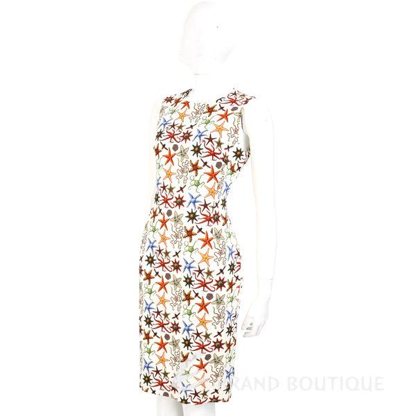VERSACE 米白色珊瑚海星印花無袖洋裝 1620333-03