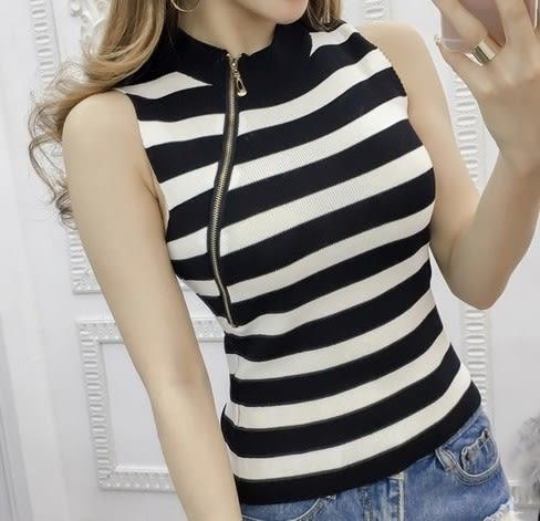 EASON SHOP(GU6371)斜拉鍊設計條紋針織背心顯瘦彈力貼身內搭衫圓領無袖T恤內搭衫女上衣服素色韓版