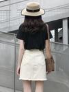 白色牛仔短裙女夏季高腰a字港味復古chic包臀裙子ins超火半身裙褲