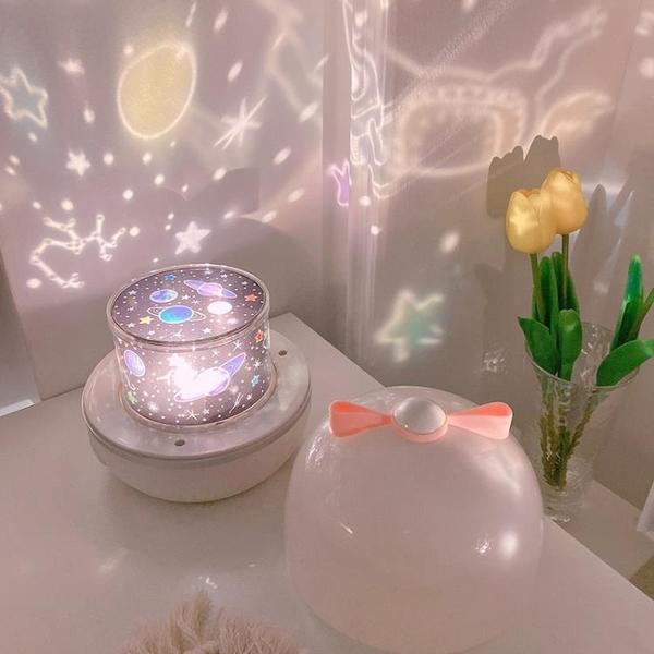 星空燈 尤物少女夢幻多功能星空投影燈彩虹星光旋轉夜燈情人節送禮物【快速出貨八折鉅惠】