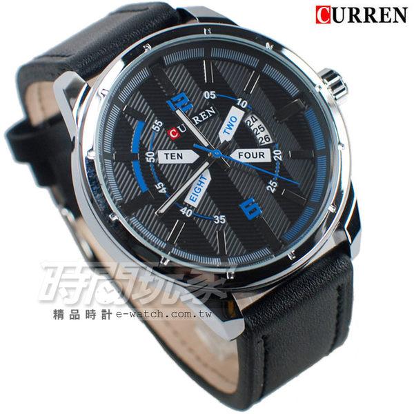 CURREN 卡瑞恩 個性潮男 時尚潮流皮革腕錶 男錶 日期顯示窗 大錶面 大錶盤 防水錶 CU8211黑