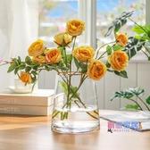 花瓶 北歐金邊滿天星花瓶擺件玻璃客廳透明插花鮮花水養干花餐桌裝飾品【快速出貨】