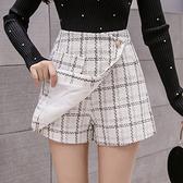 小香風格子毛呢短褲裙女高腰顯瘦闊腿休閑靴褲N195A快時尚
