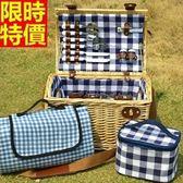 野餐籃 餐具組合-格紋戶外手提四人份郊遊用品68e32【時尚巴黎】