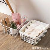 日式帶帆布鐵藝收納籃 桌面水果零食收納框水果籃子收納筐 igo瑪麗蓮安