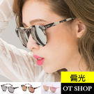 OT SHOP太陽眼鏡‧抗UV韓國質感金屬鉚釘偏光太陽眼鏡亮黑/大理石黑反光/紫反光/櫻花粉NN41