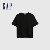 Gap女裝 純棉質感厚磅圓領短袖T恤 629536-黑色