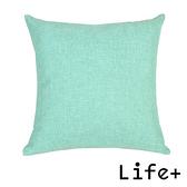 Life Plus 簡約素色 棉麻舒適方型抱枕.靠枕_湖綠