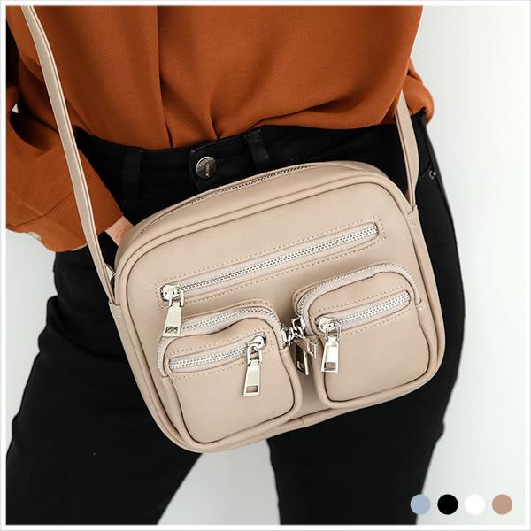 斜背包-簡約多口袋斜背方包-共4色-A17173109-天藍小舖