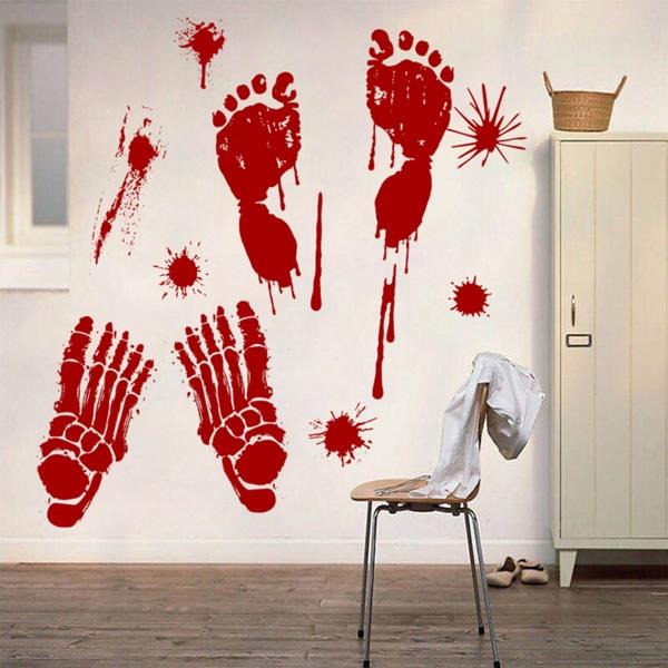 【BlueCat】萬聖節四隻骷顱血腳印鬼屋酒吧壁貼 佈置裝飾