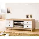 【森可家居】金美4尺電視櫃 7ZX368-5 長櫃 木紋質感 日式 日系 無印風 北歐風