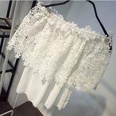 DE SHOP~韓 蕾絲衫甜美簍空一字領短袖上衣性感露肩雪紡衫(GH-594)
