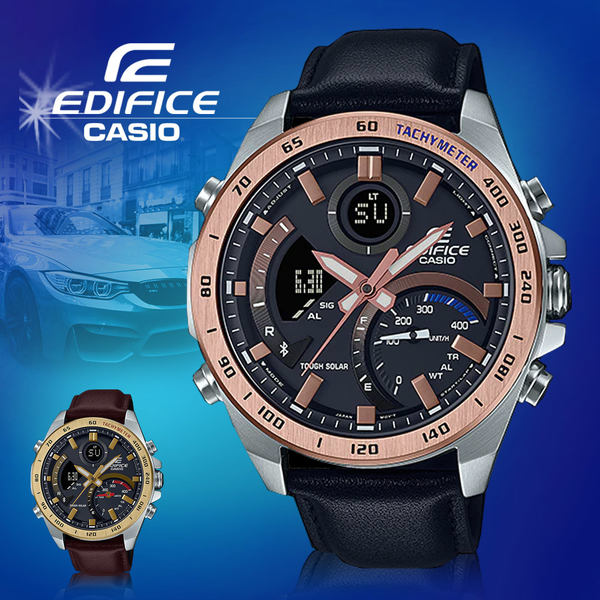 CASIO 卡西歐 手錶專賣店 ECB-900GL-1B EDIFICE 藍牙智慧錶 男錶 皮革錶帶 防水100米 ECB-900GL