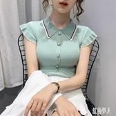 冰絲針織衫女薄款2020夏季新款網紅超火娃娃領POLO衫荷葉邊短袖上衣 LR25879『紅袖伊人』