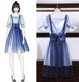 促銷價不退換兩件式女神單品XL-5XL/中大尺碼31643/新款女裝胖妹妹洋氣網紗背帶裙襯衣裙兩件套