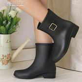 雨靴時尚中筒女雨鞋女 水鞋防滑春夏秋冬可加絨保暖兩用雨靴膠鞋套鞋 奈斯女裝
