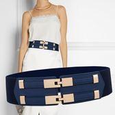 簡約雙扣寬腰帶女士連身裙裝
