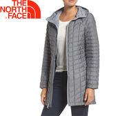 【The North Face 美國 女款 ThermoBall 長版兜帽外套《中灰》】364B/防潑水防風//暖魔球★滿額送