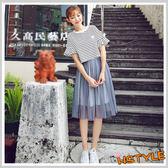 連身裙 兩件式條紋網紗短袖洋裝JN7482-創翊韓都