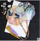 真絲宮扇手工刺繡梅花型團扇中國風竹柄海棠形扇出國禮品