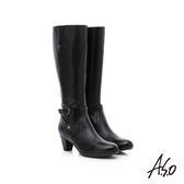A.S.O 優雅時尚 全真皮側拉鍊奈米中跟長靴  黑