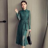 歐媛韓版 法式襯衫裙女 秋裝新款洋裝 中長款收腰立領荷葉邊魚尾蕾絲連身裙 店慶降價